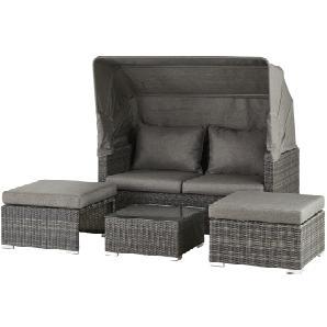 Loungeset Toronto 2 ¦ Grau ¦ Aluminium Pulverbeschichtet/ PE Geflecht  Gartenmöbel Garten Sitzgruppen »