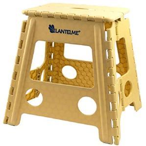 Lantelme Klapphocker bis zu 120 kg belastbar . Hocker aus Kunststoff Farbe beige Wetterfest für Haushalt , Garten und Camping