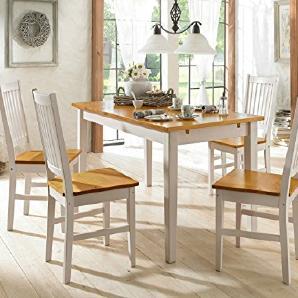 TAVIAN Essgruppe Esstisch 120 cm Set Sitzgruppe Esszimmerstühle Küchenstuhl Küche Kiefer Holz massiv (weiß honig)