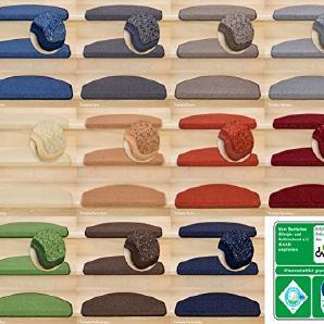 Kettelservice-Metzker® Stufenmatten | Luxus Treppen-Teppich Vorwerk Toscana Halbrund SparSet Bordeaux 14 Stück
