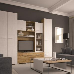 Wohnwand Ledone 01, Farbe: Eiche Braun / Kiefer Weiß - 201 x 290 x 52 cm (H x B x T)