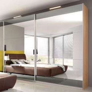 Rauch SELECT Schwebetürenschrank beige, mit Spiegel, oben und unten Dekorstreifen, Breite 270cm