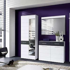 Garderobe 4-tlg. in Hochglanz weiß/mit Eiche schwarz-Dekor, Kleiderschrank B: 70 cm, Schuhschrank B: 100 cm, Spiegel B: 100 cm, Paneel B: 40 cm