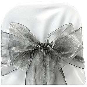 Yiuswoy 25 Stück Organza Schleifenband Stuhlhussen Stuhl Schärpe Band Schleifenband Dekorativ für Hochzeit Jahrestag Partys - Silbergrau