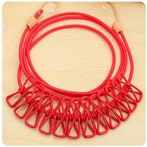 KKLL Wäscheleine tragbare 12 clips hängenden Seil Frühling Aufhänger Reisen hängende Kleidung Haken (2 Stück) , red