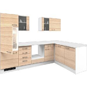 Flex-Well Exclusiv Winkelküche Akazia 280 cm ohne E-Geräte Akazie-Weiß