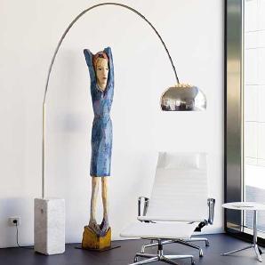 Stehlampe Arco Flos Weiß, Designer Achille Castiglioni, 240x210 cm