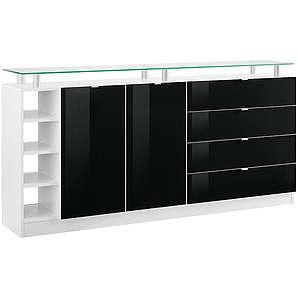 BORCHARDT MÖBEL Borchardt Möbel Kommode Dolly Breite 173 cm mit Glasablage schwarz