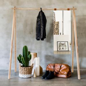 KARUP Kiefer Karup Kleiderständer mit Spiegel, natur, Breite 150cm, Massivholz »Hongi«, FSC®-zertifiziert