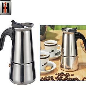 Espressokocher aus Edelstahl mit Kunststoffgriff für 2 Tassen Espresso: Espresso Kocher Moka Kaffee Kocher Camping Espressomaschine