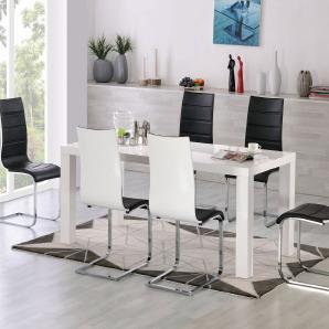 Esstisch-Set Bambari A16 inkl. 6 Stühle (schwarz / weiß) - 120 x 80 (L x B)