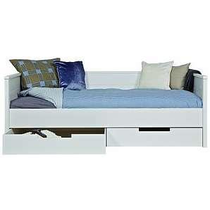 Woood Tagesbett Jade - Kiefer massiv-weiss-mit Bettkasten