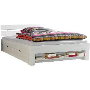 Futonbett Julia - 90 x 200cm - 2 Bettkästen & Regal - White Washed, Relita