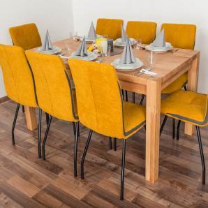 Wooden Nature Esstisch-Set 335 inkl. 8 Stühle (gelb), Buche Massivholz - 160 x 90 (L x B)