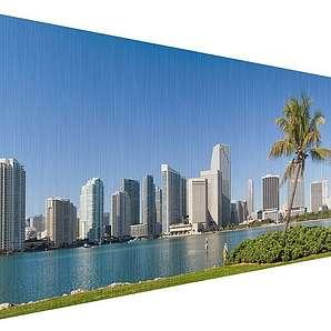 Bilderwelten Aluminium Print gebürstet Panorama Quer »Miami Beach Skyline«