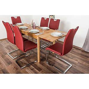 Wooden Nature Esstisch-Set ausziehbar 219 inkl. 6 Stühle (rot), Buche Massivholz - 110-190 x 70 (L x B)