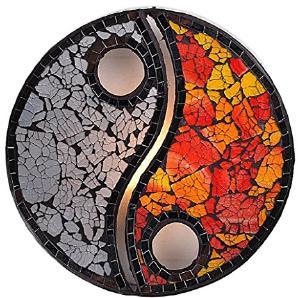 Dekoleuchte Design Deko Lampe Yin Yang 30 cm hoch, Wandleuchte aus Mosaik Glas Steine weiß rot und Textil Stoff natur, Stimmungslicht Leuchte