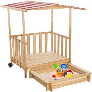 Sandkasten und Spielveranda mit Dach rot