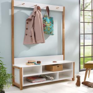 Massivholz Woodman Garderobe mit Bank, weiß »Northgate«, FSC®-zertifiziert