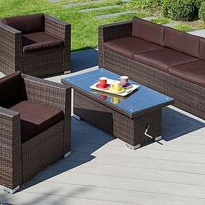 Loungeset »Bari Deluxe«, 14-tlg.,2 Sessel, 3er-Sofa,Tisch, Polyrattan, inkl. Auflagen