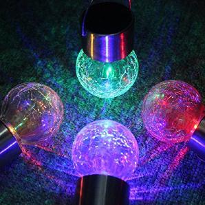 newnen Outdoor Solarleuchten zum Aufhängen Crackle Globes Farbwechsel Lampe für Outdoor Path Terrasse Hof, Deck Auffahrt und Garten