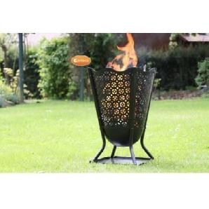 Gardeco brazier8-mesh1Delphi Blume Feuerschale mit Mesh–schwarz