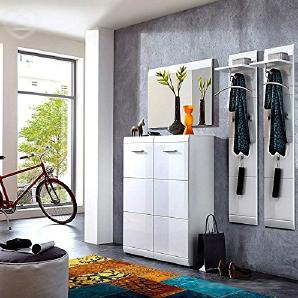 Lomado Garderoben Set ● 3-teilige Flurgarderobe Flurmöbel in Hochglanz weiß ● Schuhschrank, Spiegel, 2 Wandpaneele ● Made in Germany