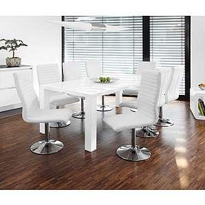 SalesFever Essgruppe Tisch 200x100cm weiß mit 8 Stühlen Lio aus Kunstleder »Luke«
