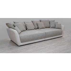 Big Sofa aus Kunstleder weiß und Strukturstoff grau, inkl. 12 Kissen, Maße: B/H/T ca. 290/86/113 cm