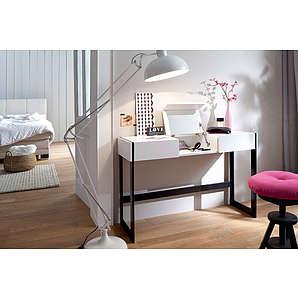 Schminktisch/Konsole in weiß matt lackiert, mit 2 Schubkästen und 1 Spiegel, Beine in Metall schwarz matt lackiert, Maße: B/H/T ca. 125/80/40 cm
