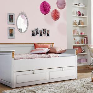 Home affaire Kiefer Daybett «Tessin», weiß, mit Bettschublade, Massivholz », wahlweise mit oder ohne Bettschublade«, FSC®-zertifiziert