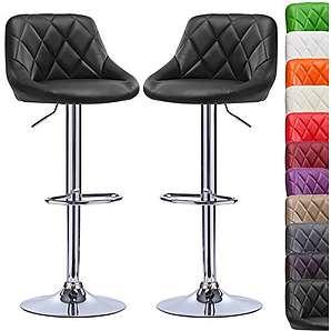 WOLTU BH23sz-2-a 2er Set Design Barhocker Barstuhl Bar Hocker mit Griff Barstühle Kunstleder stufenlose Höhenverstellung verchromter Stahl Antirutschgummi Schwarz
