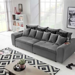 Big Sofa in einem dunkelgrauen feinem Webstoff bezogen, Steppung praktische Abstellfläche, Schaumpolsterung, Maße: B/H/T ca. 310/81/125 cm