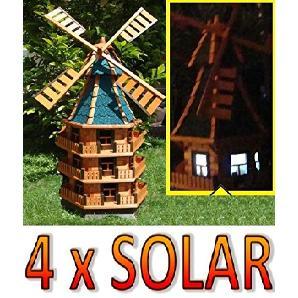 XXXL,Windmühle, windmühlen garten, WMB180bl-MS mit Licht,MIT BELEUCHTUNG, windmühle mit solar, für Außen 1,80 m groß blau, blaugrau, eisgrau
