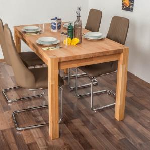Wooden Nature Esstisch-Set 320 inkl. 4 Stühle (cappuccino), Buche Massivholz - 160 x 90 (L x B)