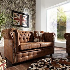 Sofa Chesterfield 160x92 cm Braun Antik Optik 2 Sitzer, Chesterfields