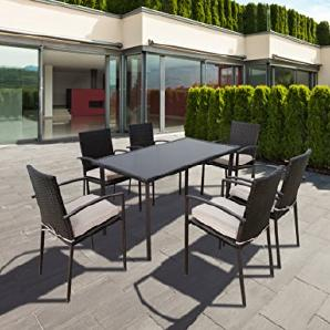 """greemotion Esstischgruppe """"Palermo"""" 13-teilig, Essgruppen Set aus Polythylengeflecht, ideal für 6 Personen, inkl. Tisch und 6 Stühlen mit Sitzkissen, Polyrattan Set für Drinnen und Draußen, Glastischplatte aus Sicherheitsglas, Stahlgestell ummantelt mit"""