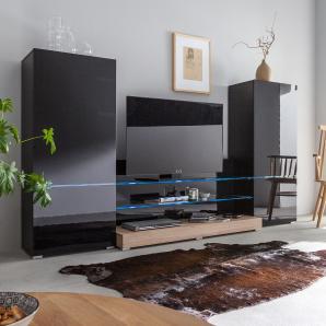 EEK A+, Wohnwand Modern Art (3-teilig) - inkl. Beleuchtung - Hochglanz Schwarz / Eiche Sanremo Dekor, Fredriks