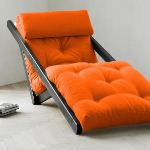 KARUP Karup Lounge-Liege inkl. Futonmatratze, orange, Gestellfarbe wengefarben, 70/200cm »Figo«, FSC®-zertifiziert