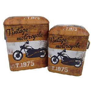 VISCIO Trading Vintage C & L Puff Blechdose rechteckig 2Stück, Kunstleder, mehrfarbig, 38x 26x 49cm, 2Einheiten