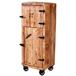 Bar-Schrank mit 2 Holz-Türen aus massivem Mango-Holz Antik-Finish 60x145 cm   Crust   Edler Hoch-Schrank mit Kühlschrankgriffen und schwarzen Beschlägen 2-türig 60cm x 145cm