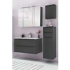 Badmöbel Set 4-teilig Basaltgrau - Badezimmer Komplettset: Spiegelschrank mit LED Beleuchtung - Waschtisch in matt mit Unterschrank, Hängeschrank, Unterschrank - Schubladen mit Softclose & Türen mit Dämpfung - Made in Germany