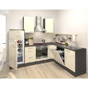 Respekta Premium Winkelküche RP260EVACGKE 260 cm Vanille-Eiche Grau Nachbildung