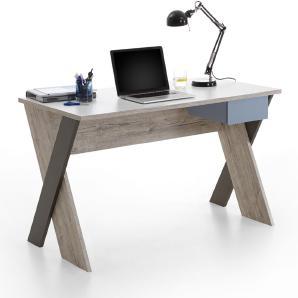 Schreibtisch LEEDS-10 Sandeiche Nb./weiß/Lava/Denim, B x H x T ca. 135 x 76,4 x 67,5 cm
