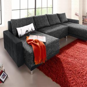Collection Ab Wohnlandschaft, schwarz, B/H/T: 302x42x47cm, hoher Sitzkomfort