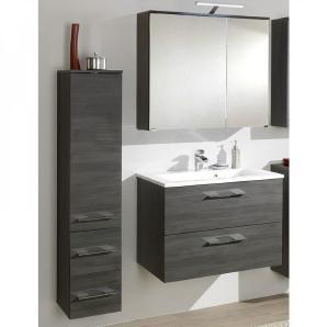 Badmöbel Set BADELO-06 Graphit Struktur, 80cm Waschtisch, LED Spiegelschrank (3-teilig)