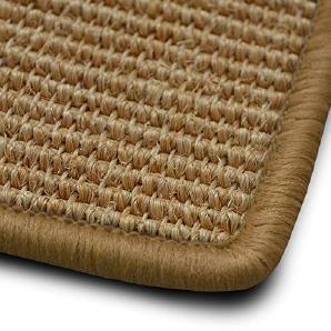 Stufenmatten myStyle 15er Spar Set | Kettelung in Wunschfarbe | 100 % Naturfaser Sisal | rechteckig | stabiler Halt dank Winkelschiene (Kettelung Beige)